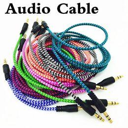 Vente en gros Câble audio auxiliaire tressées 1m de 3,5 mm d'onde AUX Extension mâle à mâle stéréo voiture en nylon Cordon Jack pour MP3 Samsung téléphone PC casque Haut-parleur