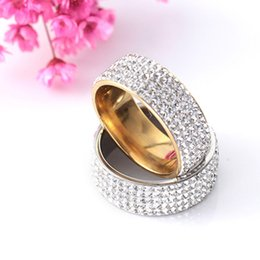unique titanium wedding rings NZ - New Arrival High Quality Golden Unique Allergy Free Silvery 5 Row Lines Clear Crystal 1PC Rhinestone Stainless Steel Ring