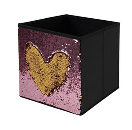 Wholesale Sequin Clothes Australia - New Fashion Shine Sequin Decorative Collapsible Office Home Drawer Cube Box Clothes Organizers Toy Storage Boxes Bin