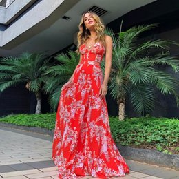 $enCountryForm.capitalKeyWord Australia - bright Red Party Dresses Crisscross Backless Floral Pattern Prom Dresses Floor Length V Neck Even Dress 2094