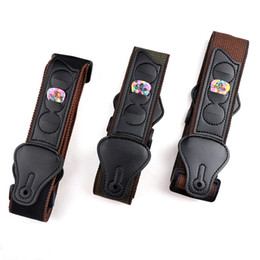Chinese  Adjustable Cotton Guitar Strap Belt W  3 Plectrums Guitar Pick Holders Pu Leather Ends Acoustic Electric Guitar Bass Strap manufacturers