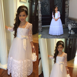 Discount unique christening dresses girls - Unique White Lace Beaded Flower Girls Dresses Square Neck 1 2 Illusion Sleeve With bowknot Christmas first holy communio