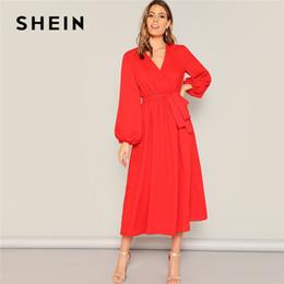 129660168f SHEIN Neon Red Lantern Sleeve Surplice Neck Wrap Belted Maxi Dress Women  Elegant Solid V Neck Spring Summer Dress