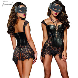 sexy lingerie corset faux leather Australia - Bustier Sexy Lingerie With Polyester G String Sets Women Faux Leather Lace Burlesque Gothic Steampunk Corset Waist Corpet Plus Size