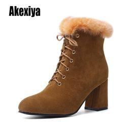 $enCountryForm.capitalKeyWord Australia - New Women Boots Winter outdoor keep Warm Fur Boots Waterproof Women's Snow Thick heel with round head short boot k387