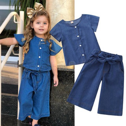 Girls Denim Bow Shirt Australia - summer kids outfits clothes girls 2019 childrens boutique clothing baby girl denim shirts tops bows jeans loose pants two pieces sets hot