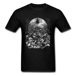 discount clothing NZ - Wholesale Discount Of Bones T Shirts Horror Skulls Tshirt Men Black Clothes Halloween Tops Girl Killer T Shirt Goth Style Moon Night