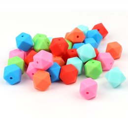 silicone nursing beads wholesale Canada - TYRY.HU 10pcs Silicone Beads 14mm Baby Teething Teether Bead Food Grade Nursing Silicone Baby Toy DIY Pacifier Accessory Perle