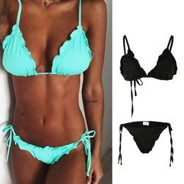 Discount big push up swimwear - Big lazy cat 2019 Sexy Bikini Set Solid Bikinis Push Up Swimsuit Women Bordered Swimwear Women Summer Bathing Suits Biqu
