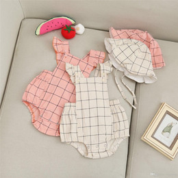 $enCountryForm.capitalKeyWord Australia - INS Spring Fall Toddler Baby Girls Plaid Jumpsuits with Hat 2pieces Suits Ruffles Fly Sleeve Square Collar Pink Bodysuit Baby Romper 3-18M