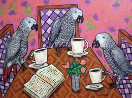 african canvas prints NZ - Animals Art African Grey Parrots Drinking Coffee, Oil Painting Reproduction High Quality Giclee Print on Canvas Modern Home Art Decor