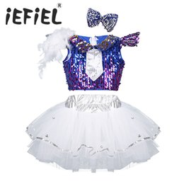 fa48086009bd Sequins Kids Girls Child Modern Jazz Salsa Dance Outfit Shiny Crop Top with  Mesh Tutu Dress Hair Clip Set for Stage Performance