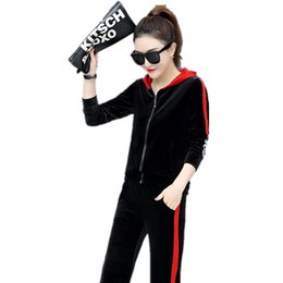 $enCountryForm.capitalKeyWord Australia - Spring Leisure Velvet Two Piece Outfits for Women Zipper Tops wide-legged Pants Suit Tracksuit Clothing Set Female Sport Costume