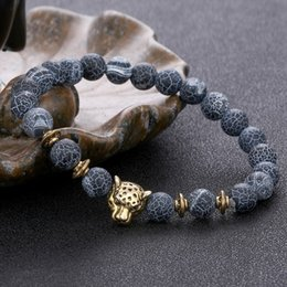 3b8633e7a088 Pulseras de cabeza de leopardo de piedra natural ágata abalorios pulsera  brazalete diseñador de joyería de moda para mujeres hombres envío de la gota