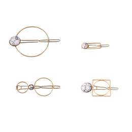 Kawaii Hair Clips UK - Fashion Cute Barrettes for Women Girls Jewelry Hair Pin Kawaii Hairpins Clip Gold Metal Color Accessories Round Stone Geometry