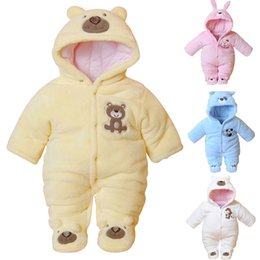 Yellow Hooded Jumpsuit Australia - Newborn Baby Rompers Cartoon Hooded Winter Baby Clothing Thick Cotton Girls Outfits Baby Boys Jumpsuit Infant Clothes
