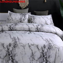 Black White Purple Bedding Australia - Marble bedding set purple white Black coffee blue duvet cover Twin Double Queen Quilt Cover Bed Linen (No Sheet No Filling)