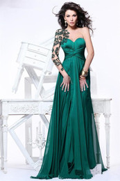 Discount lace emerald long dresses New Arrival Beautiful Appliques Sheer Long Sleeves Open Back Emerald Green Chiffon Evening Dresses Formal Gowns Vestido