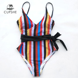 6d64b4a3ef Cupshe Tropic Of Discusssion Stripe One-piece Swimsuit Women Push Up Tied  Bow Belt Monokini 2019 Girl Bathing Suit Swimwear J190519