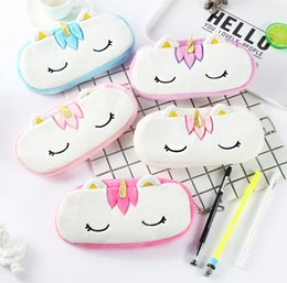 function suits UK - Cute Cartoon Plush Unicorn Doll Toy Of Coin Pencil Multi-function Zipper Bag Doll Creative Stuffed Unicorn Pencil Case For Kids