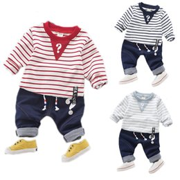 Long Upper Suit Canada - Boys clothes Private label jeans suit stripe unlined upper garment of cotton children's clothing a undertakes