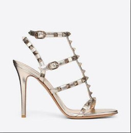 studs sandals Australia - Designer Pointed Toe Studs Patent Leather rivets Sandals Women Studded Strappy Dress Shoes valentine 10CM 6CM high heel Shoes D4