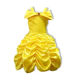 Chinese  Beauty Beast Belle's Princess Dresses Yellow Girls Kids Ball Gown Cosplay Party Clothing manufacturers