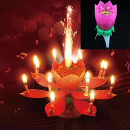 High Tea Party Decorations Australia - party candle New Beautiful Musical Lotus Flower Rotating Happy Birthday Party Candle Lights Kid Cake Decoration High Quality