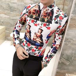 a6ba9a03d8448ad 7 Фотографии Купить Онлайн Мужские рубашки выпускного вечера-Роскошная  рубашка с принтом Мужчины Золото Черный Белый с