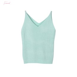 lolita blouses Australia - Crop Top 2019 Sexy Women Bruiser Summer Icecream Camisole Fashion Glittering Knitting Vest Top V Neck Blouse Casual Tank Tops
