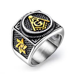 Freemason Rings Wholesale Australia - Vintage Stainless Steel Masonic Ring for Men Freemason Symbol G Templar Freemasonry Punk Men Rings Titanium Male Ring Jewelry