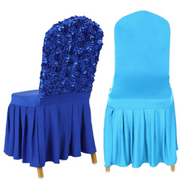 $enCountryForm.capitalKeyWord UK - Banquet Chair Covers With Satin Rose Back Decoration Spandex Elastic Stretch Chair Skirt Covers For Wedding Event Party Hotel
