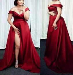 1180f3fbafd8f Dark Red Plus Size Evening Dresses Off The Shoulder Satin sexy high Split  Long Simple Prom Dresses Custom Made Pregnant Evening Dresses
