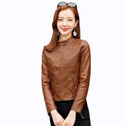 Discount green jacket leather - 2019 new spring and autumn Leather jacket female fashion short PU leather coat women motorcycle clothing leisure women o