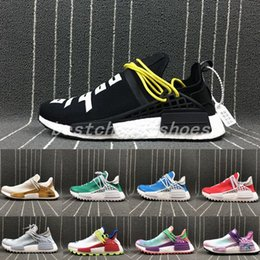 Pharrell Williams NMD Human race Hu Holi Fog Fear Of God mens running Shoes  Happy Black Blue Orange NMDs Real Boost womens Sneakers 6aa14b059