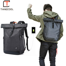 large rucksack backpack NZ - Tangcool Men Backpack For 15.6 Inches Laptop Usb Backpack Large Capacity Fashion Stundet Backpack Water Repellent Rucksack Y19061004