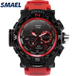 $enCountryForm.capitalKeyWord Australia - Fantastic Fashion Red Band Man Sport Waterproof Outdoor Young Men Dual Digital Diplay Watch New Clock Cool Look SMAEL 1531