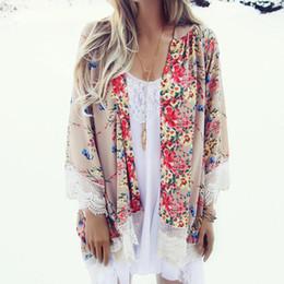$enCountryForm.capitalKeyWord NZ - good quality Vintage Chiffon Blouse Women Kimono Cardigan Printed Fringed Hem Lace Shawl Oversized Tops blusas mujer 2018 New