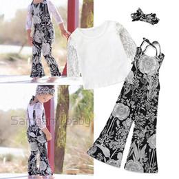 Long Woolen Shirts Girls Australia - Ins Fashion lace Girls Outfits princess long sleeve T shirt+Braces Suspenders Trousers kids designer clothes girls Suits Kids Sets A5187
