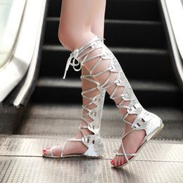 long boots lace flat Australia - Women Sexy Flat Hollow Lace Up Bandage Long Summer Boots Shoes Lady Party European Ladies Gladiator Party Motorcycle Boots Shoes