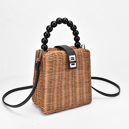 hands bags for girls Australia - 2019 Brand Designer Bead Hand-woven Straw Bag Women Samll Tote Bags For Summer Travel Handle Bag Ladies Shoulder For Girl Y19061204