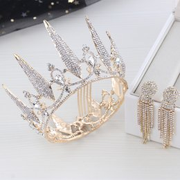 Cheap Platinum Earrings Australia - Tiaras gold Tiaras Crowns Wedding Hair Jewelry neceklace,earring Cheap Wholesale Fashion Girls Evening Prom Party Dresses Accessories