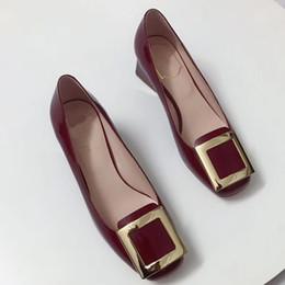 75b32bda851 Новые женские туфли на высоком каблуке европейский бренд дизайнер  коренастая обувь натуральная кожа удобная обувь дамы роскошные туфли