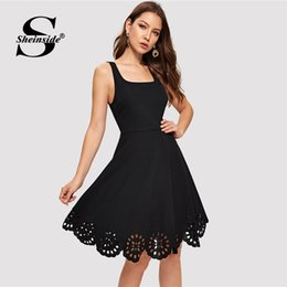 Scalloped Knee Length Dress UK - Sheinside Black Scalloped Hollowed Out Dress Women V-Cut Back Sleeveless Party Dresses Summer Elegant Square Neck A Line Dresses