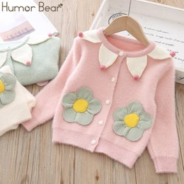 korean kids clothes winter autumn Australia - Humor Bear Girls 2019 New Korean Knit Jacket Autumn Winter Flower Warm Sweater Velvet Cardigan Baby Kids Girls Cute Clothes