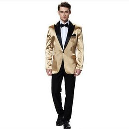 $enCountryForm.capitalKeyWord UK - Top Selling High Quality costume homme groom suits Gold three Piece men suit peaked lapel formal suits ( jacket+Pants+tie)