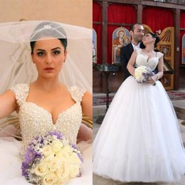 embellished cap sleeve wedding dress 2020 - Stunning Pearls Embellished Wedding Dresses Luxury Capped Shoulder Floor Length Tulle Bridal Gowns Arabic Wedding Party