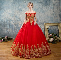 masquerade photos 2019 - Red Quinceanera Dresses 2019 Modest Masquerade Off Shoulder Prom Dress Sweet 16 Girls Birthday Party Lace Up Full Length