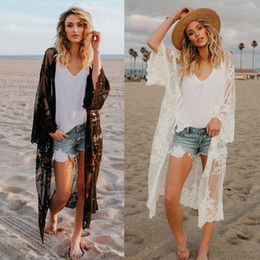 Women Lace Cardigan Kaftan Shawl Coat Beach Wear Swimwear Cover Up Blouse Tops Cape Pareo 2018 Sexy Bathing Suit from elegant kimonos suppliers