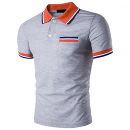 Wholesale multi color polo resale online – Striped Rib Cuff Lapel Neck Short Sleeve Polo Shirts Casual Mens Summer Tops Contrast Color Mens Designer Polos Fashion